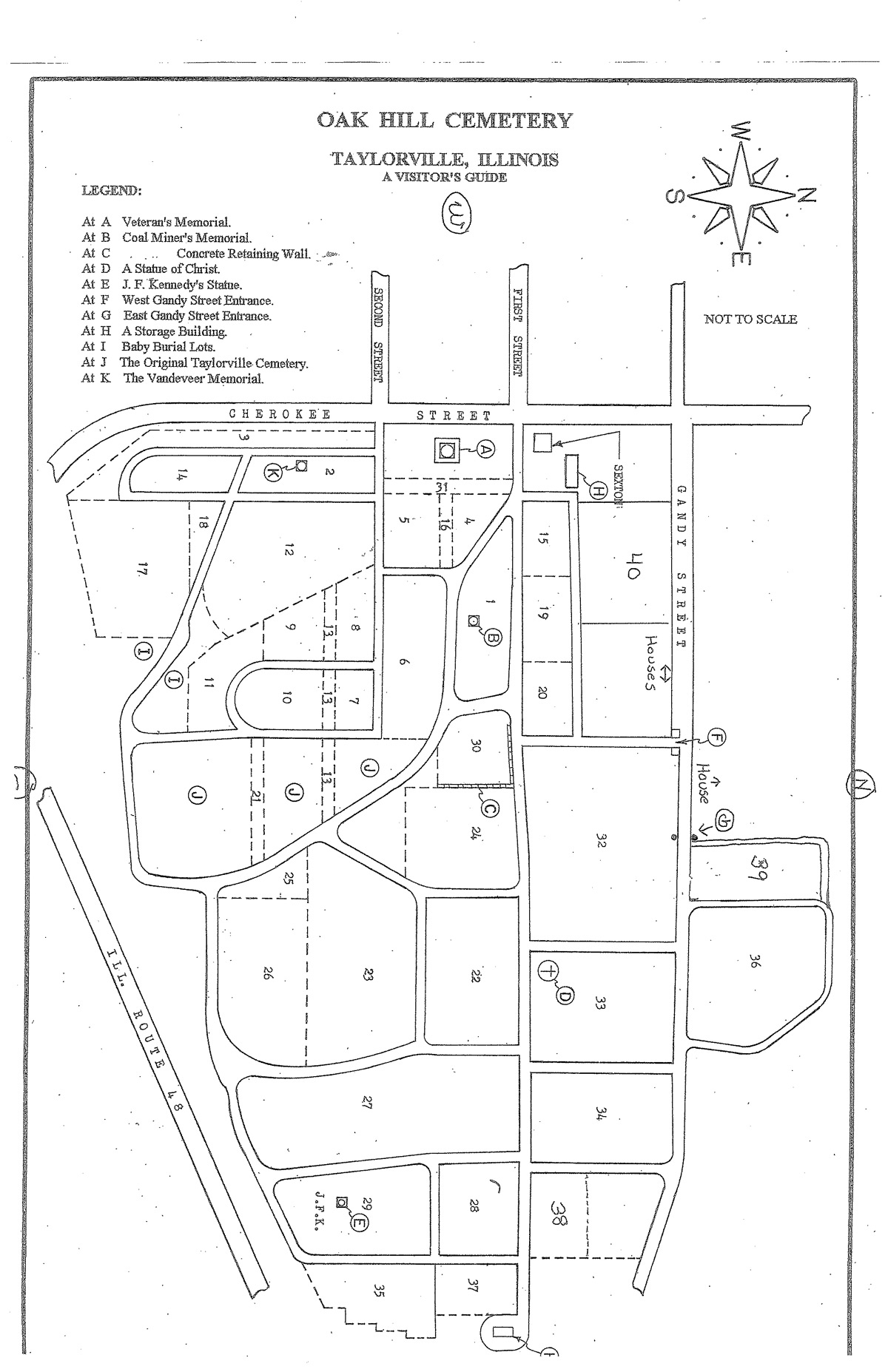 Oak Hill Cemetery Map