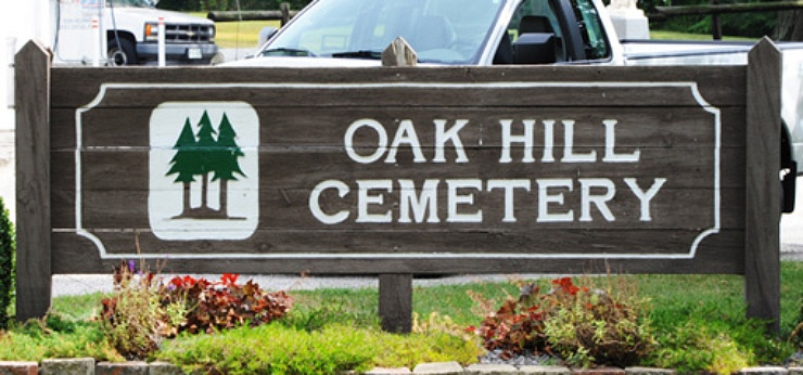 Oak Hill Cemetery sign
